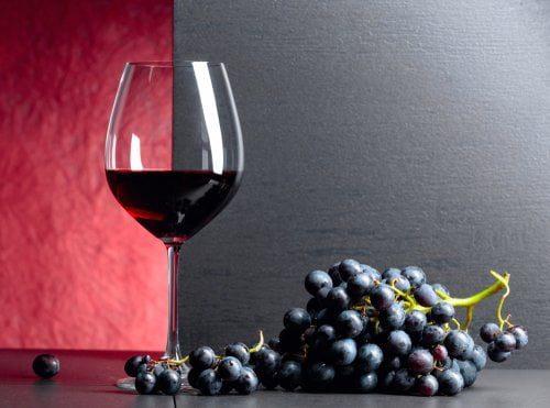 verre de vin et grappe de raisin riches en resvératrol